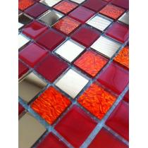 Pastilha Vidro Tipo Gliter Espelho Vermelho Caixa 11 Placas