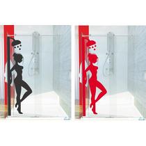 Adesivo Decorativo Parede Box Banheiro Mulher Chuveiro