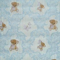 Papel De Parede Importado Textura Infantil Bebê Ursinho Azul