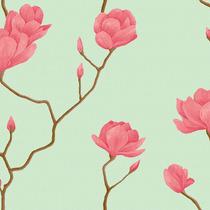 Papel Parede Bobinex Natural 1447 Rosas Galhos Fundo Verde