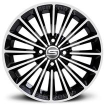 Roda Scorro S195 Aro 14 - 4x100 - Preta Diamantada