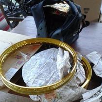 Aros Alumínio Par Dourado Moto Pop/bizz