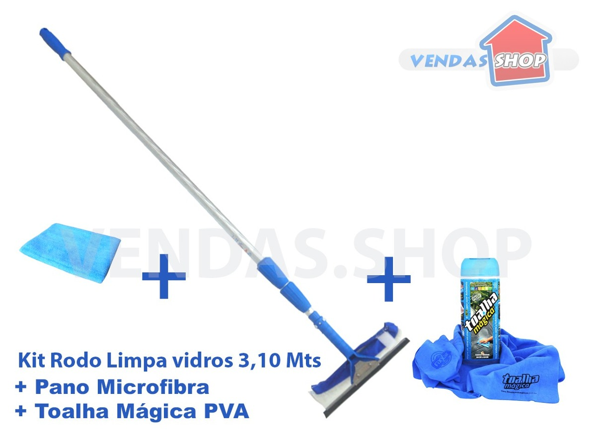 #0988C2 Rodo Limpa Vidros 3 10mts   Toalha Mágica   Pano Microfibra R$ 174  812 Limpar Vidros Janelas