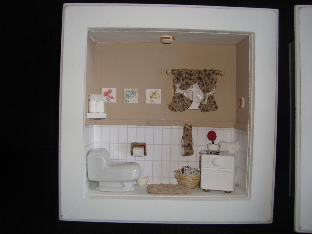 Roombox De Banheiros Lindos Quadros Com Miniaturas De Banho R$ 170  #604B3B 1200x900 Balança De Banheiro Digital Casas Bahia