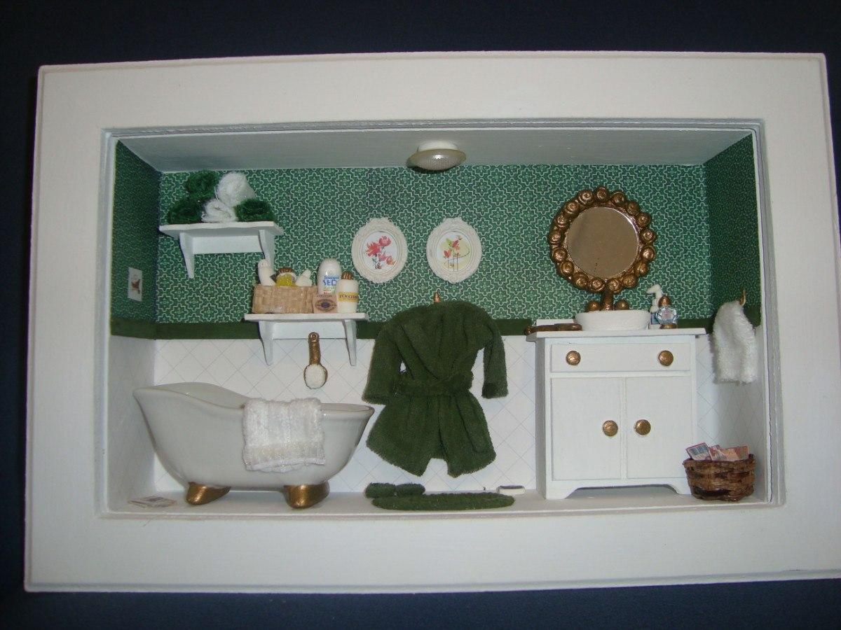 Roombox De Banheiros Lindos Quadros Com Miniaturas De Banho R$ 170  #705E44 1200x900 Balança De Banheiro Digital Casas Bahia