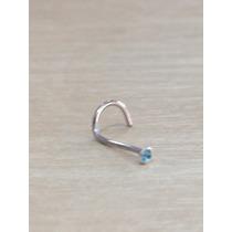 Piercing Nariz Nostril Aço Cirurgico Pedra Azul