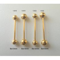 Piercing Barbell (língua) Folheado Á Ouro