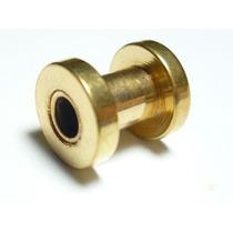 Piercing Orelha Alargador Aço Gold Dourado 5.0 Frete Grátis