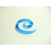 Alargador Espiral, Chifre 3mm, Acrílico Azul.