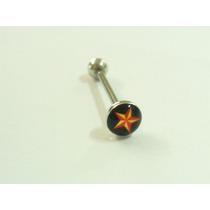Piercing Para Lingua, Barbell, Estrela De 5 Pontas, Aço