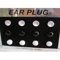 Alargador Plug 8mm 10mm 12mm 14mm 16mm - Cartela 12 Peças