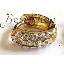 Piercing Argola Strass Orelha Cartilagem 3 Fileiras B.ouro