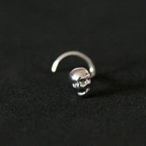Piercing Nariz Skull Nostril Aço Cirurgico 316l 0,5mm X 7mm