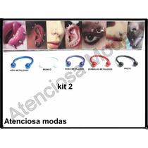 Kit Com 5 Piercing Ferradura, Trágus, Boca, Nariz ,smile