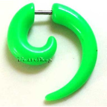 Brinco Piercing Falso Alargador Espiral Verde Neon Imita 5mm
