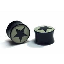 Alargador Orelha Plug 12mm Acrilico Estrela Star