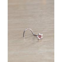 Piercing Nariz Nostril Aço Cirúrgico Estrela Com Pedra Rosa