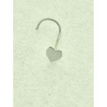 Piercing Nariz Nostril Coração Ouro Branco 18k 750
