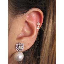 Piercing Orelha, Cartilagem, Tragus Fl Ouro, Flor, Zirconia
