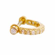 Piercing Argola De Zircônias De Ouro 18k Para Cartilagem