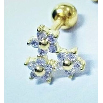 Piercing Orelha Cartilagem Folheado Ouro Flores De Zircônia