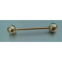 Piercing De Língua - Em Aço Inox - Folheado A Ouro -