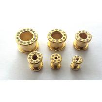 Alargador Em Aço Folheado A Ouro Com Strass Do 3mm Ao 6mm
