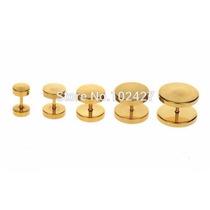 Alargador Falso De 8mm Ouro/dourado Furo De Brinco Normal 2