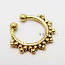 Piercing De Nariz, Septo Vintage Argola De Pressão Dourada
