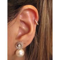 Piercing Orelha Tragus Fl Ouro, Cartilagem Argola Zirconia