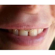 Piercing De Smiley Dourado Argola Indiana De Prata Folheada