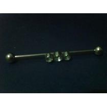 Piercing Industrial/transversal - Com Strass - Aço Cirurgico