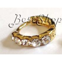 Piercing Argola Strass Orelha Cartilagem 1 Fileira B.ouro 18