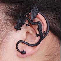 Brinco Orelha Dragão Ear Cuff Orelha Inteira Preto