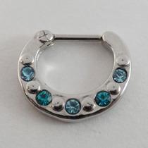 Piercing Clicker De Septo Aço Cirúrgico E 5 Zircônias Azuis