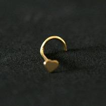 Piercing Nariz Ouro 18k Folheado Piercing Nostril Coração 0