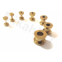 Alargadores Dourado Aço Inox316l 1mm,2mm,3mm,4mm,5mm,6mm,8mm