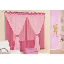 Cortina Juvenil Pink Tecido Voal 2m X 1,7m