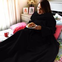Cobertor Com Mangas Em Soft Adulto 1,60 X 1,30m - Preto - Lu