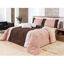 Edredom King Size Lumiere 7pçs Floral Marrom/rosa Almofadas