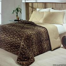 Edredom Plush Peles Queen Onça Com Porta Travesseiro Hedrons