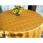 Toalha De Mesa Em Cetim Jacquard Dourado 1,40x2,00m