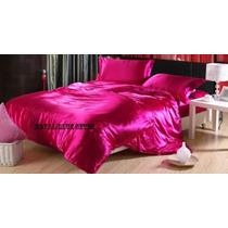 Jogo Em Cetim C/ Capa P/ Edredom Rosa Pink Casal-1,38x1,88
