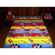 Manta Para Cama Casal Colorida Mickey E Minnie Baby Disney