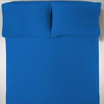 Lençol + 2 Fronhas Casal Azul Malha Penteada 30cm Altura
