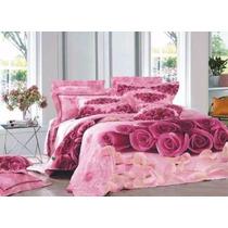 Jogo De Cama Lençol Em 3d 2 Fronha Capa Edredom Rosa Pink