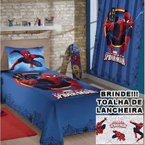 Kit Lençol Fronha Cortina Homem Aranha Spider Man Infantil