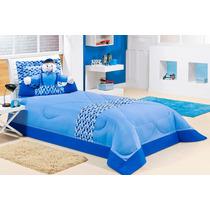 Cobreleito Infantil Solteiro Azul 3 Pç C/ Boneco Travesseiro