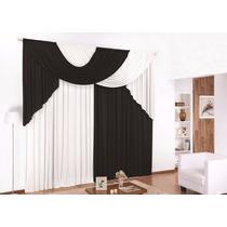 Cortina Elegance 3,00x2,80 Preta E Branca P/sala Ou Quarto