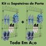 Kit 2 Sapateira Vertical Porta Preto Aço 24 Divisórias Cada